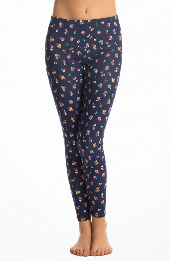 Navy Cheeky Foral Leggings
