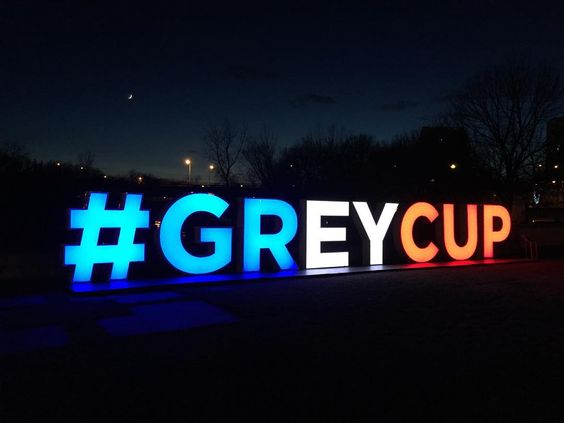 The Grey Cup sign at The Forks in Winnipeg, Manitoba, Canada ~Damon Surzyshyn