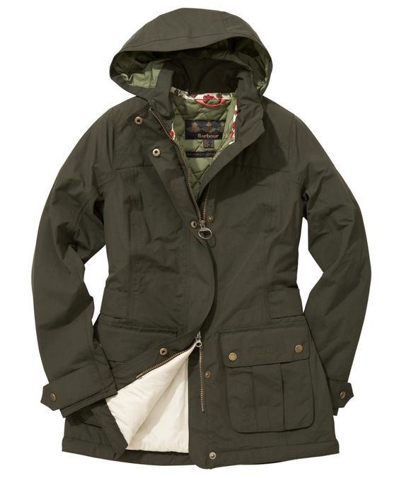 Womens Barbour Rochdale Waterproof Jacket - Dark Greena long