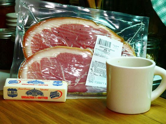 You'll need these ingredients to make your country ham & red eye gravy. Yep, there's some coffee in that cup.