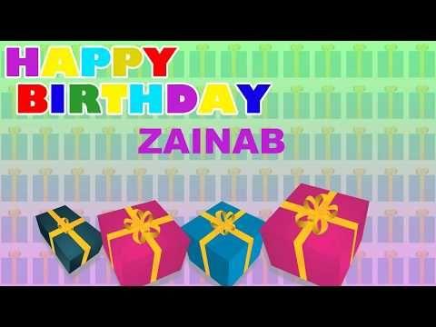 Zainab Birthday Card Happy Birthday Zainab Youtube