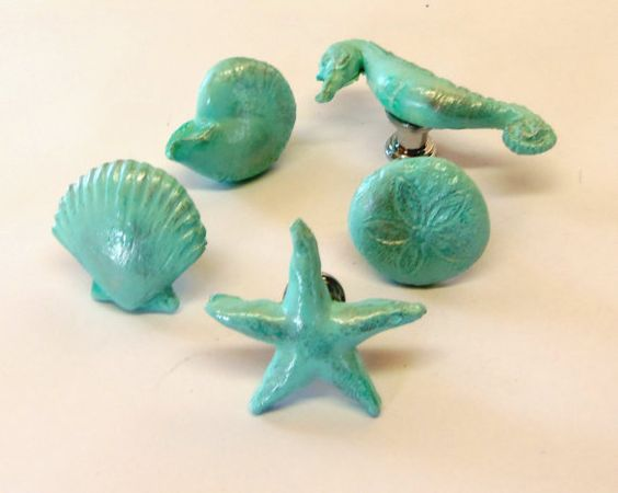 Drawer Pulls Knobs -Seashells, Starfish, Seahorse, Sand Dollar, Nautilus in Nautical Aqua Ocean Blue Chrome Base Beach Set of 4