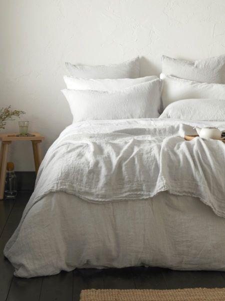 Pebble Grey 100 Linen Duvet Cover Emperor Bed Linen Sets Linen Bedding Linen Bed Sheets
