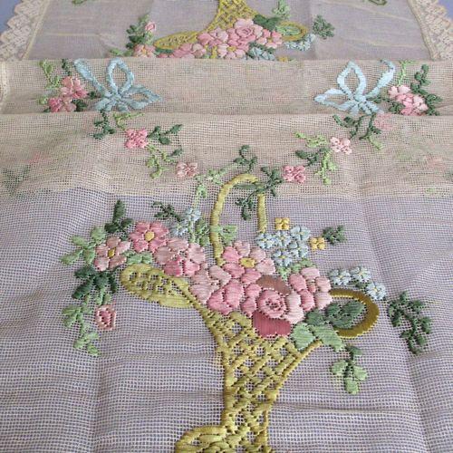 Ribbon Embroidery Flower Baskets : Vintage ecru lace runner ribbon embroidery flower baskets