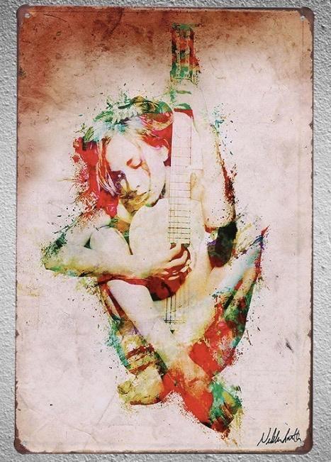 Music Girl Guitar Tin Plate Sign