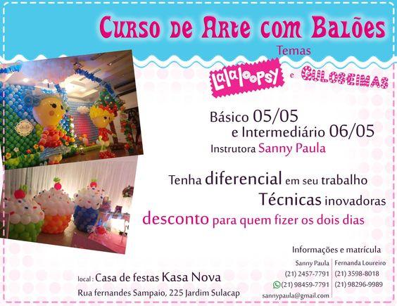 Dias 5 e 6 de maio curso de arte com balões .