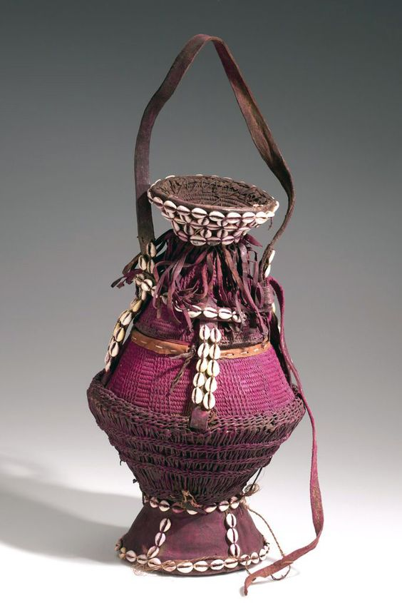 Africa | Basket from Somalia or Ethiopia | Plant fiber, hide, shell, cord, pigment | ca. 1960s