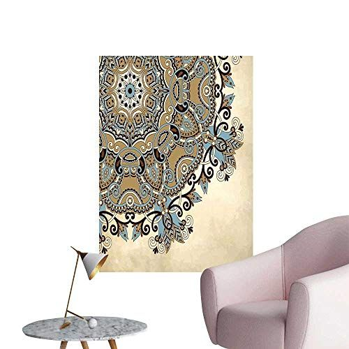 Wall Decor For Home Living Room Flower Circle Lace Ornaments Boho Cream Cocoa Light Blue Safe Painted Wall Decora Home Living Room Decor Printed Shower Curtain