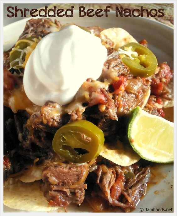 Shredded Beef Nachos - I just want to make the meat. It reminds me of Ropa Vieja. I'd use it for burritos or have it over rice.