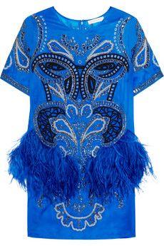 Matthew Williamson Embroidered feather-trimmed silk-organza dress | NET-A-PORTER