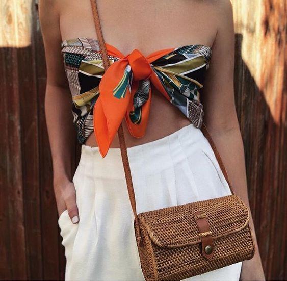 Scarf crop top + woven bag.