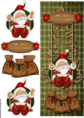 Large DL Santa on Swing on Craftsuprint designed by Marijke Kok - Very cute christmas lare DL card, easy to make, insert available. - Now available for download!