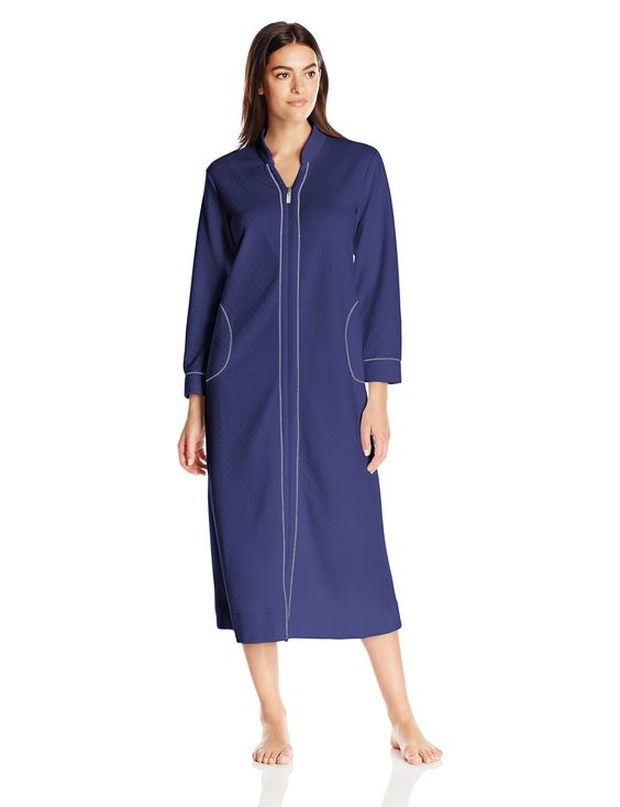 Carole Hochman Women's Quilted Zip Robe, Navy, X-Small
