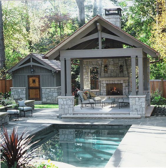 Outdoor room with fireplace pool and garden shed close up for Outdoor room with fireplace