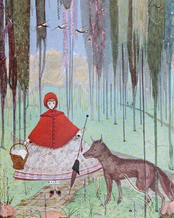 LITTLE RED RIDING HOOD & WOLF IN THE FOREST WOODS PAINTING ART REAL CANVAS PRINT #Realism