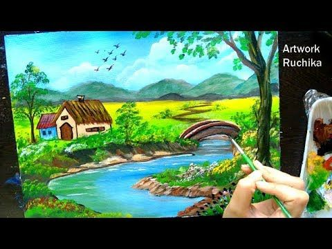 Beautiful Village Scenery With River And Bridge Acrylic Painting Tutorial Youtube Scenery Paintings Painting Tutorial Acrylic Painting Tutorials