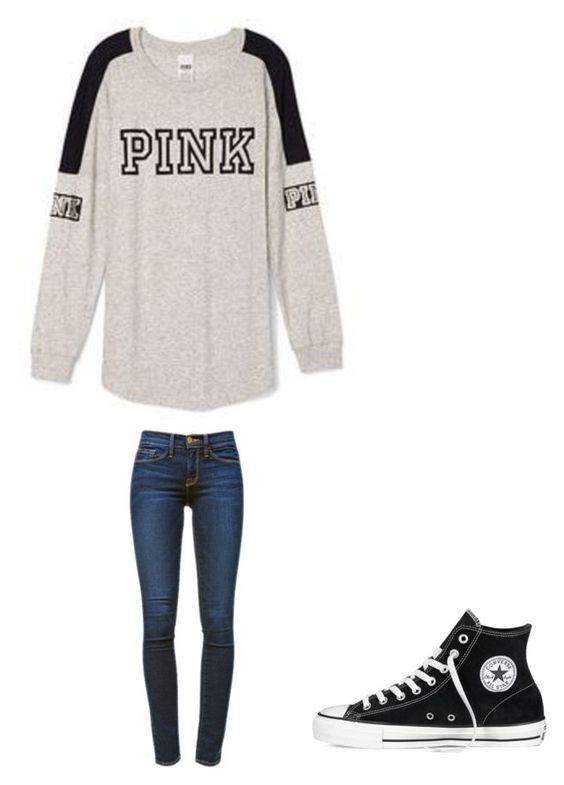 """"""""""" by melodyleighmitchell on Polyvore featuring Victoria's Secret, Converse and Frame Denim"""