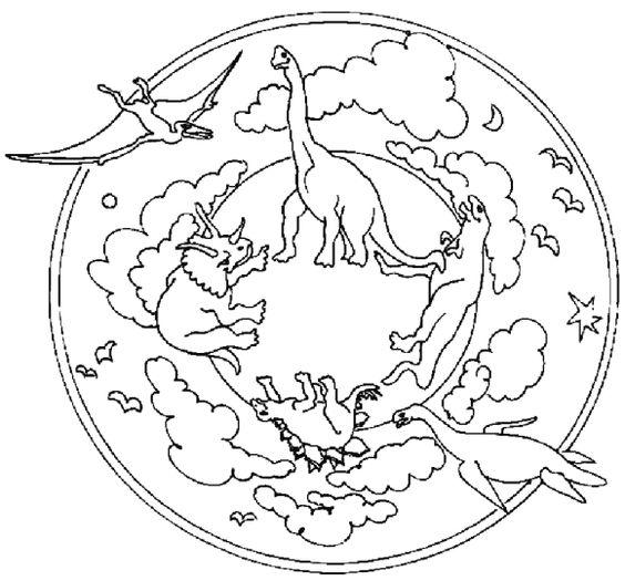 Dinosaur mandala coloring pages lineart designs mandalas - Mandala dinosaure ...