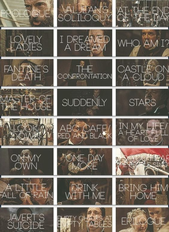 Les Songs of Les Misérables... notice how most of these shots are of people crying...yeah. that's basically les mis.
