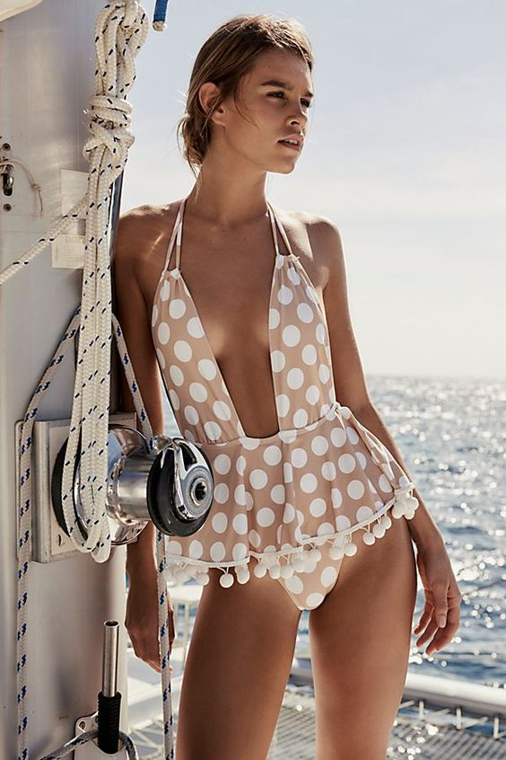Slide View 1: Pom-Pom One-Piece Swimsuit