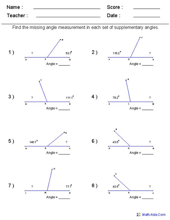 Find Supplementary Angles Worksheets | Primary School Math ...math worksheets for every grade FREE...i have it on angles for my 6th grader www.math-aids.com