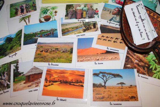 16 devinettes sur l'Afrique » l'adulte pioche une carte et lit la question à l'enfant - l'enfant cherche la photo qui correspond