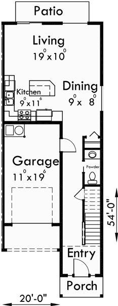 Main floor plan for s 727 6 plex house plans narrow row for 6 plex floor plans