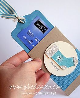"""The tag, cut from the Two Tags die on the Big Shot) fits perfectly inside the cardstock sleeve and holds a gift card! The cardstock sleeve is 4-1/4"""" x 6-1/8"""" Crumb Cake cardstock. Score on the long end at 1-5/8"""" and 4-1/2"""" and then use Sticky Strip to glue it together, leaving one end open."""