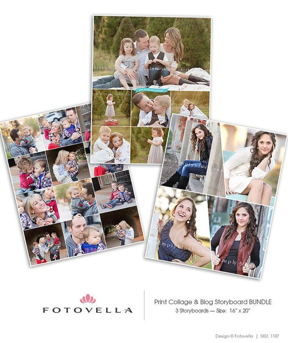Blog Storyboard Templates 16x20 Print Collage by FOTOVELLA - photography storyboard