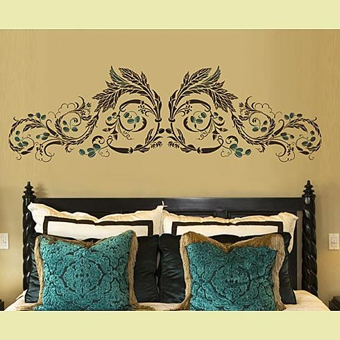 """Can you believe this is a stencil?  Beautiful and matching the small accents on stencil to color """"pops"""" in the room is smart and thrifty!"""