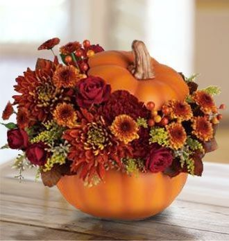 LOVE, LOVE, LOVE THIS!!!!!!!  More purples in the flowers?  I would love to use pumpkins that don't look like pumpkins!: