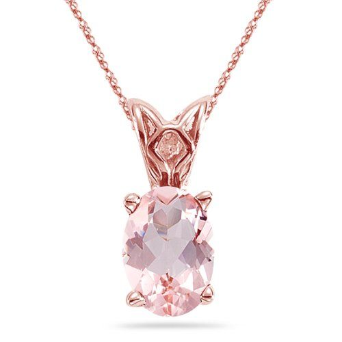 5.75-6.00 Cts of 14x10 mm AAA Oval Morganite Scroll Pendant in 14K Rose Gold