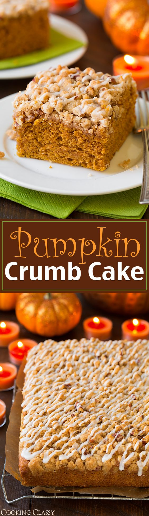 Pumpkin Crumb Cake - delicious!! This cake is so tender and moist and it's loaded with cinnamon crumbs! (pumpkin desserts, recipes)