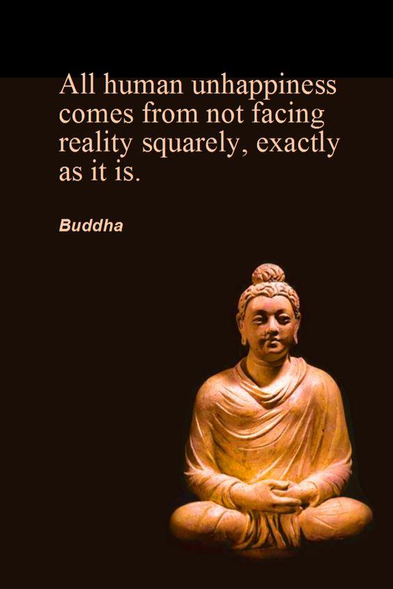 """Daily Quotation for July 17, 2013 #quote #quoteoftheday All human unhappiness comes from not facing reality squarely, exactly as it is. - Buddha """" A infelicidade de todos os humanos vem de não encarar a realidade de frente, exatamente como ela é. - Buddha"""