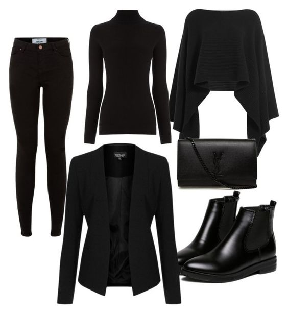 All Black by tamara-katharina on Polyvore featuring polyvore, moda, style, Warehouse, Topshop, Donna Karan, New Look, WithChic, Yves Saint Laurent, fashion and clothing
