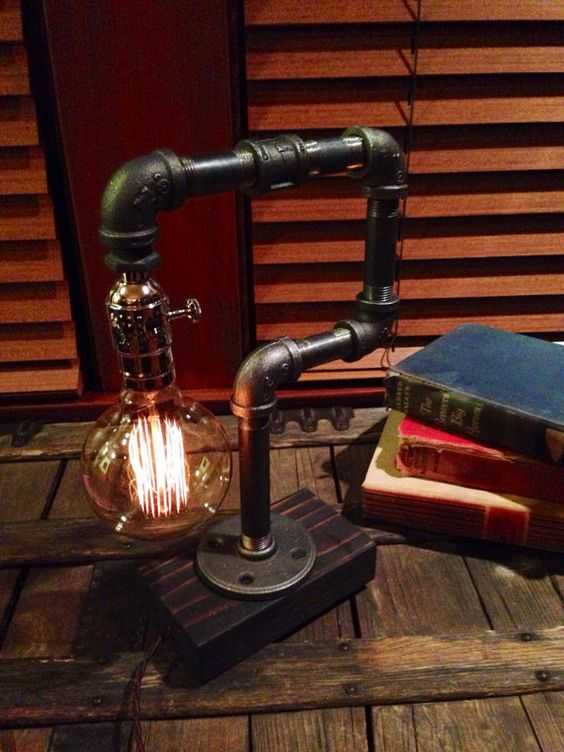 Edison Light Metal Desk Lamp Reclaimed Wood Base Bulb