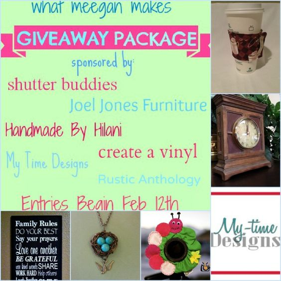 Win ONE HUNDRED Dollars PLUS in prizes!!  Entries begin now!  Ends on Feb 14th.  Limited to U.S. entries.  #shutterbuddies #joeljonesfurniture #mytimedesigns #homemadebyhilani #rusticanthology #creatavinyl