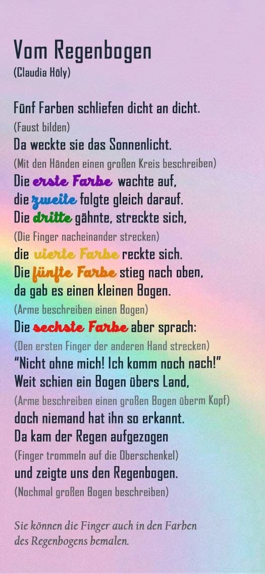 Gedicht regenbogen