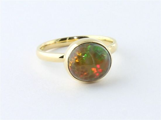 18k Gold 3.09 Carat Honeycomb Opal Ring