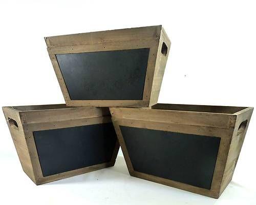 3 caisse casier bac boite style ancien en bois et ardoise - Caisse de rangement en bois ...