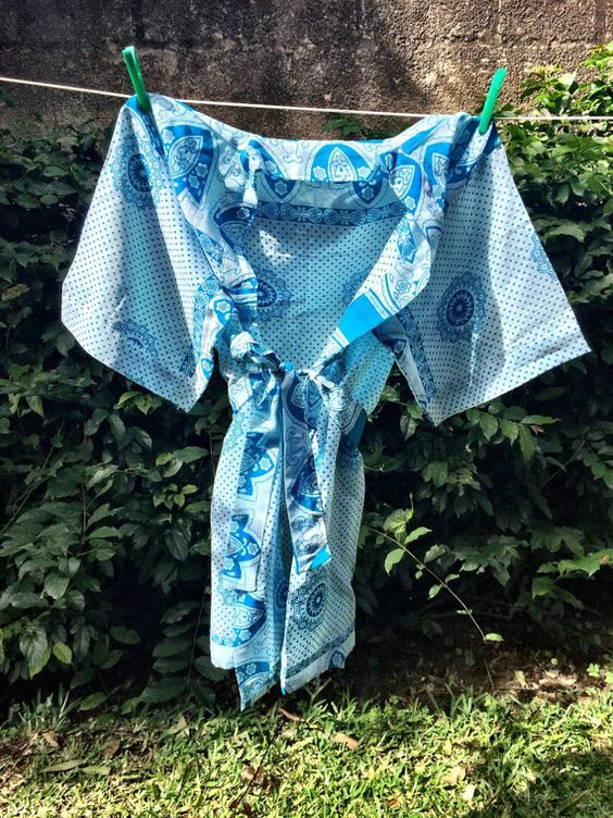 Cotton Turquoise Paisley Robe  Tanzania Kanga by MACCous on Etsy
