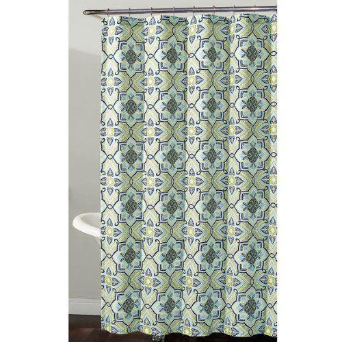 Richloom Home Fashions Millhouse Geometric Floral Fabric Shower Curtain Shower Curtains