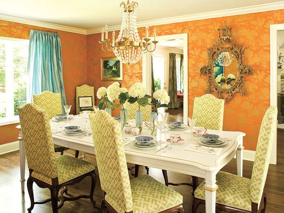 an unexpected mix of colors patterns and textures makes this north carolina dining room - Carolina Dining Room