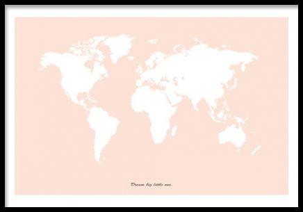 Tavla / poster med rosa världskarta. affisch, plansch med världen ...