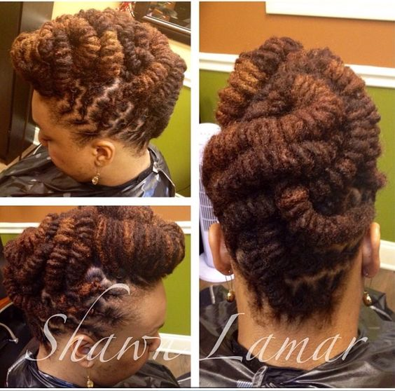 Loc updo and custom color by Shawn Lamar Daniels, Atlanta Ga