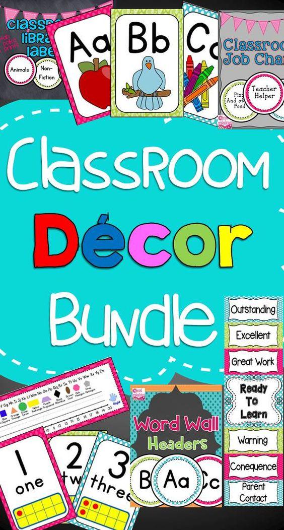 Classroom Decor Bundles : Classroom decor labels bundle cheetah print pink and dots