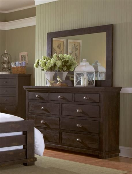 Willow Casual Distressed Black Wood Drawer Dresser