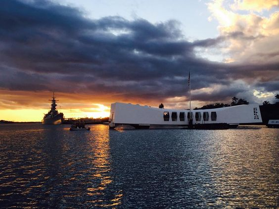 USS Missouri in the background. Arizona memorial