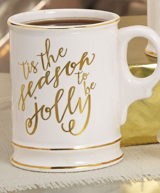 Tis The Season Gold Glitter Mug