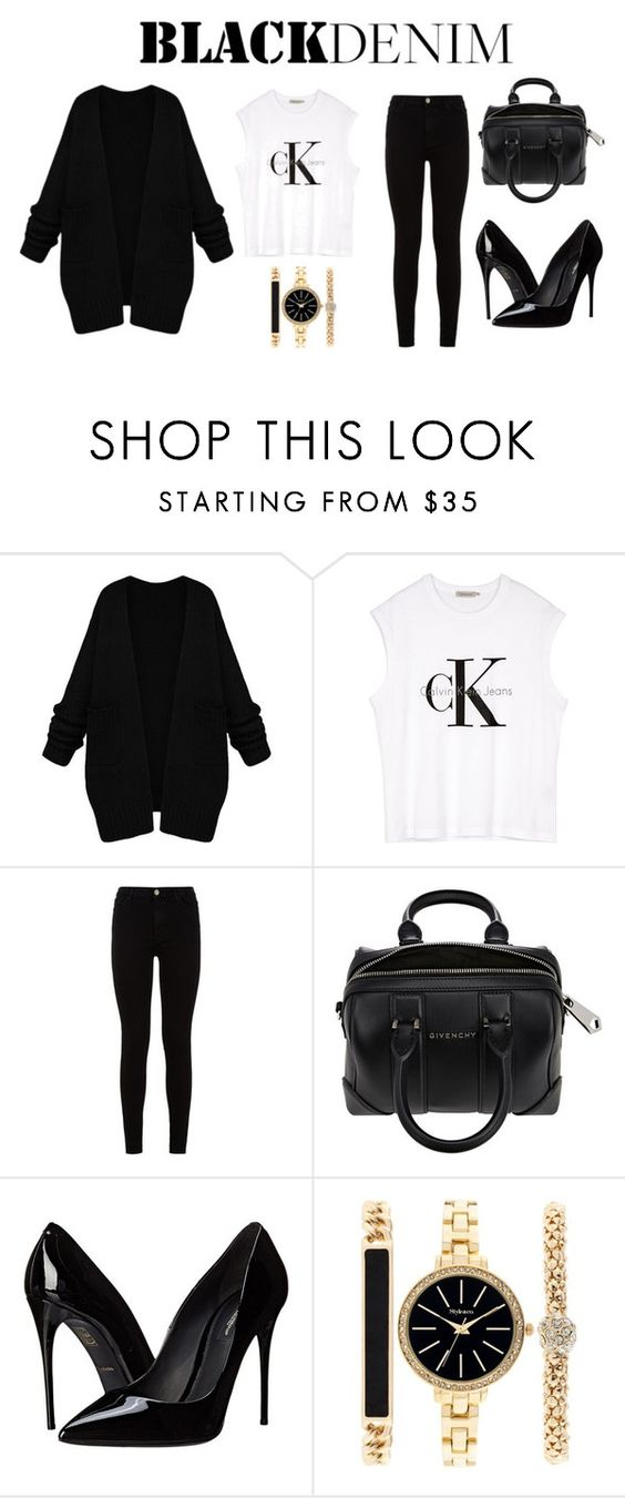 """Black Denim"" by nayelistyless on Polyvore featuring Calvin Klein, 7 For All Mankind, Givenchy, Dolce&Gabbana, Style & Co., women's clothing, women, female, woman and misses"